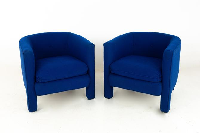 Drexel Heritage Mid Century Upholstered Blue Club Lounge Chairs - Pair - mcm by ModernHill