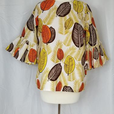 Blouse with trumpet sleeeves (Ankara with fall leaves) by GLAMMfashions