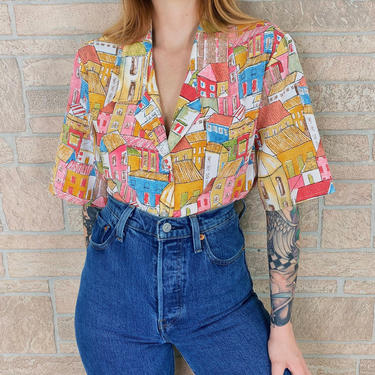 Vintage Architecture Buildings Novelty Print Blouse by NoteworthyGarments