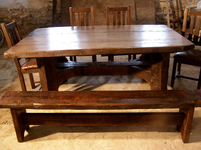Timberframe Thick Plank Farm Table from Antique Barnwood by BarnWoodFurniture