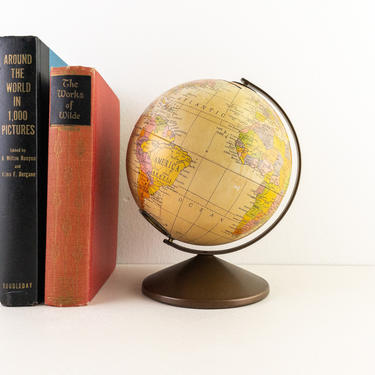 Metal Replogle Globe Bank, Vintage Piggy Bank, Desktop Coin Holder by PebbleCreekGoods