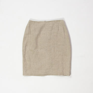 "Cashew Skirt — vintage linen skirt / designer Emanuel Ungaro oatmeal mini skirt / tan small 90s minimalist 26"" high-waisted pencil skirt by fieldery"