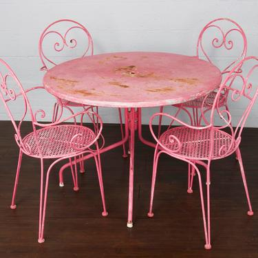 Antique French Wrought Iron Pink Patio Outdoor Dining Set by StandOutSpaces