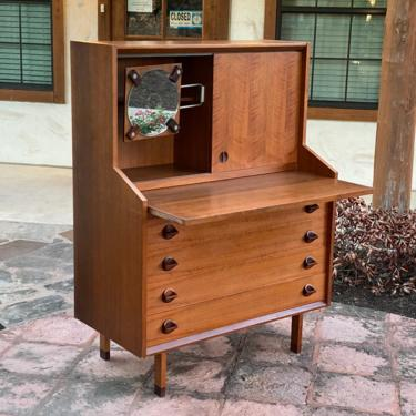 Italian MCM Teak and Rosewood Multi Use Unit Desk / Dresser / Vanity by PrimaForme