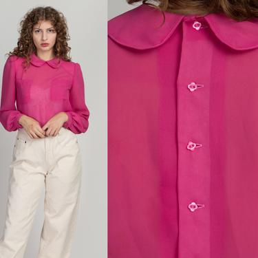 80s Hot Pink Sheer Peter Pan Collar Blouse - Medium   Vintage Long Sleeve Button Back Top by FlyingAppleVintage