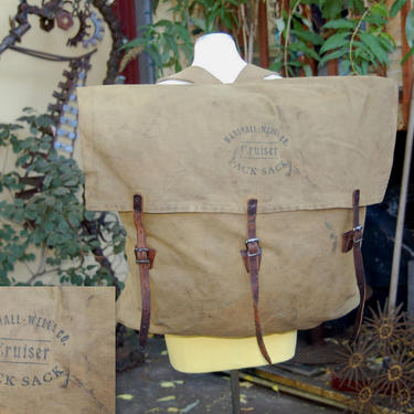 Early 1917 to 1920's Marshall Wells Co Cruiser Pack Sack ~ Canvas and Leather Bag / Backpack ~ Forestry, Canoe, Hiking, Hunting ~ Rustic by YesterdayAndTomorrow
