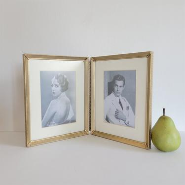 Vintage Double Brass Frame, 8x10 Folding Frame with Mats for 5x7 Photos by CivilizedCrow