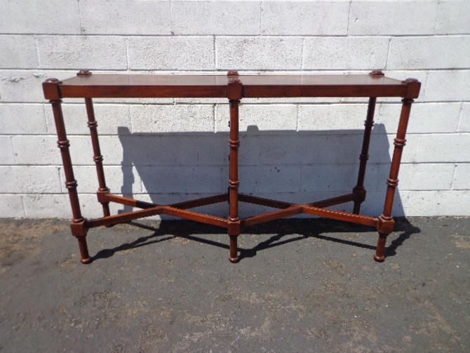 Wood Sofa Table Console Faux Bamboo Chinoiserie Chinese Chippendale Bohemian Boho Chic Entry Way Furniture Vintage Living Room TV Stand by DejaVuDecors