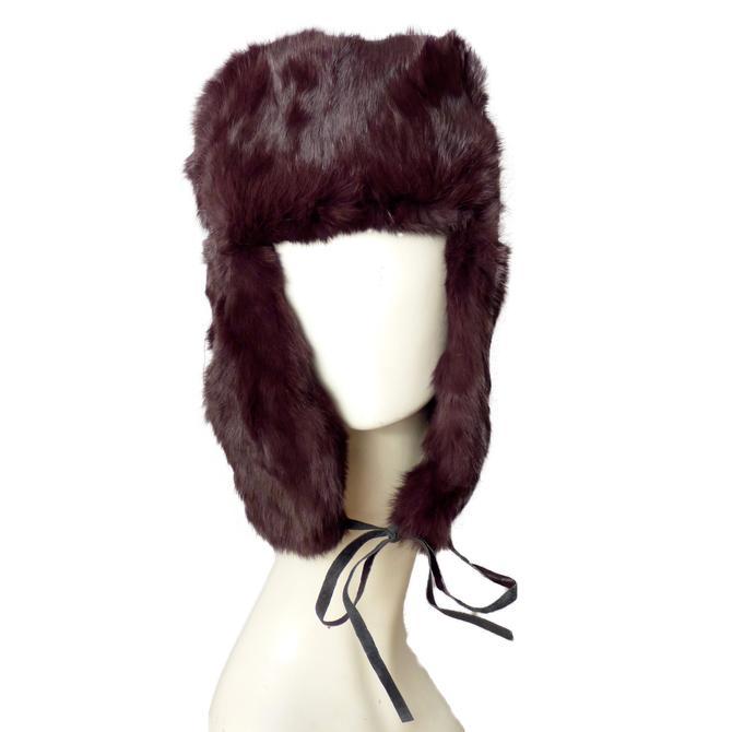 VALERIE STEVENS-1990s Brown Rabbit Fur Trapper's Hat