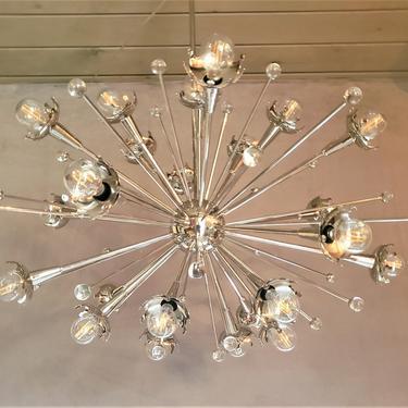 Polished Nickel and Crystal Sputnik Chandelier by WrightFindsinMCM
