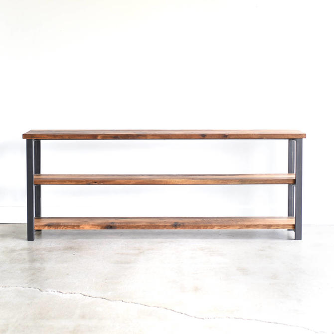 Long Bookshelf made from Reclaimed Barn Wood / Industrial Steel Frame by wwmake