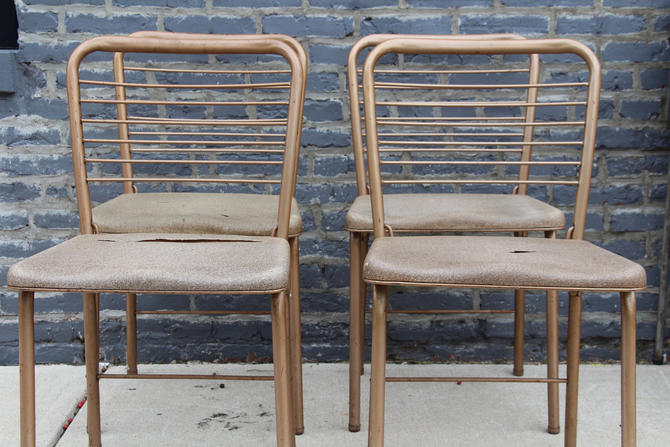 Vintage Metal Folding Chairs Set of 4
