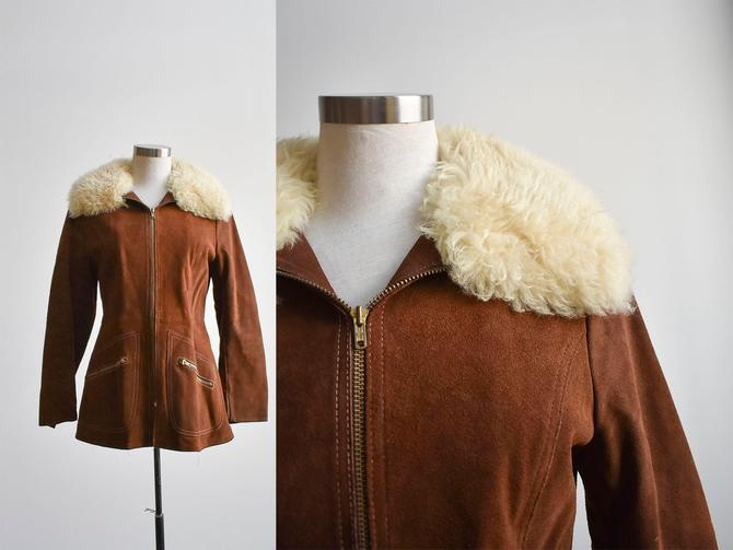 1960s Chocolate Suede Coat with Shearling Collar by milkandice
