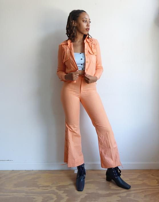 Vintage 70s Peach Lace Up Pants Suit/ 1970s Wendy Watts High Waisted Bell Bottoms/ Matching Jacket/ Stage Wear/ Size Small by bottleofbread