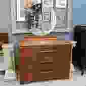 Transitional Dresser with Circular Mirror