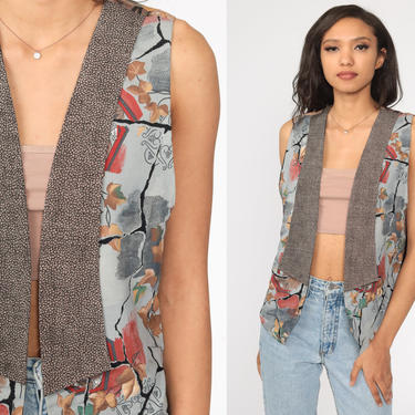 90s Floral Vest -- 1990s Abstract Boho Top 90s Bohemian Shirt Rayon Open Front Flower Print Hippie Sleeveless Small S by ShopExile