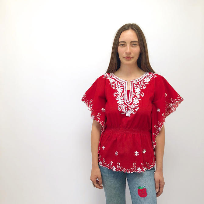 de97cd21f04 Isla Blouse // vintage 70s floral embroidered dress top shirt boho hippie  tunic red white