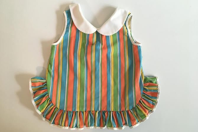 Vintage Children's Striped Mod Top Lord & Taylor Young Peoples Shops Kid's Sleeveless Girl's Dress Peter Pan Collar Children Playsuit Green by CheckEngineVintage
