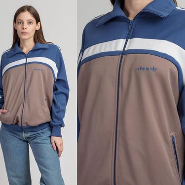 Vintage 80s Adidas Track Jacket - Men's Large | Striped Trefoil Logo Zip Up Streetwear Sweatshirt by FlyingAppleVintage