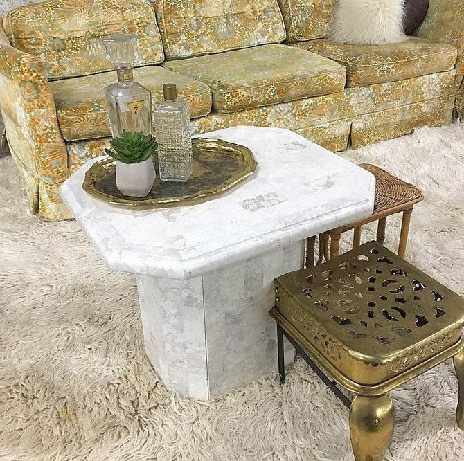 LOCAL PICKUP ONLY ------------- Vintage Marble End Table by RetrospectVintage215