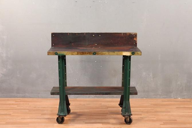 Rustic Industrial 2-Tier Rolling Table