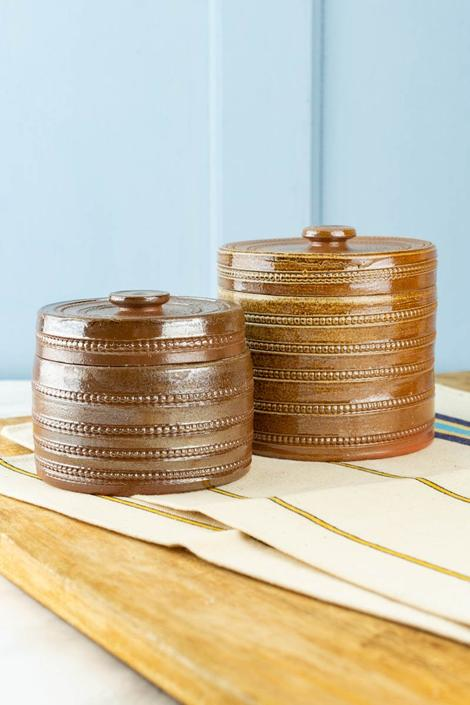 Vintage French Handmade Stoneware Salt Pot