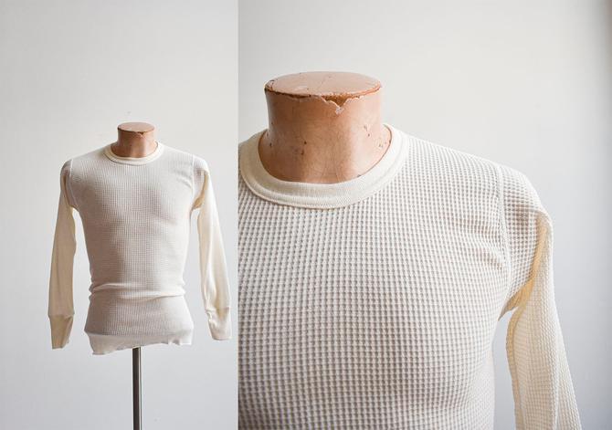 Vintage Cream Thermal Longsleeve Shirt by Long Johns by milkandice