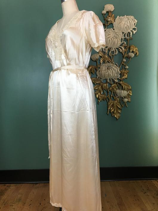 1930s silk nightgown, vintage lingerie, cream colored, puff sleeves, bias cut nightgown, size medium, hollywood glamour, bridal lingerie, 36 by BlackLabelVintageWA