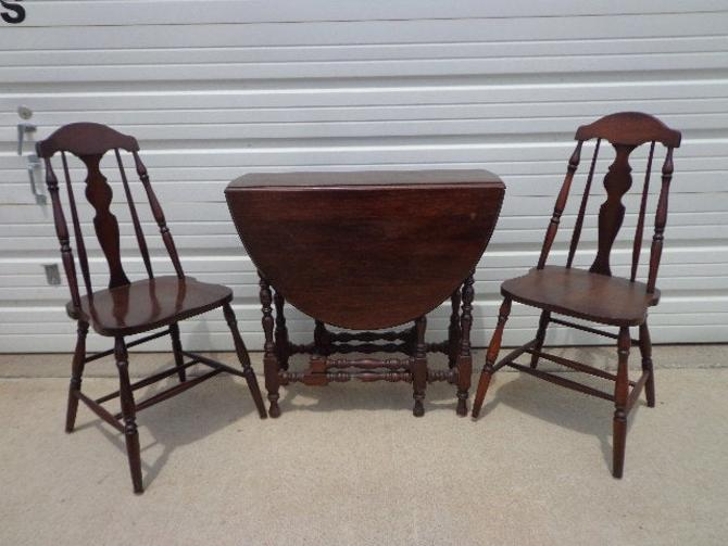 3pc Antique Dining Set Folding Wood Table 2 Chairs Drop Leaf Hideaway Seating Traditional Vintage Country Farmhouse Arts and Crafts by DejaVuDecors