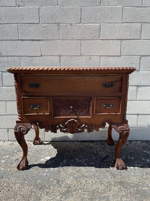 Antique Buffet Cabinet Jacobean Shabby Chic Primitive Sideboard Hutch Wood TV Media Console France Country Storage Table CUSTOM Paint Avail by DejaVuDecors