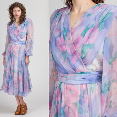 80s Floral Pastel Bishop Sleeve Dress - Small | Vintage Ursula Of Switzerland Fitted Waist Midi Dress by FlyingAppleVintage