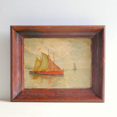 Vintage Oil Painting of a Ship, Nautical Oil Painting, Framed Painting of Ships by LittleDogVintage