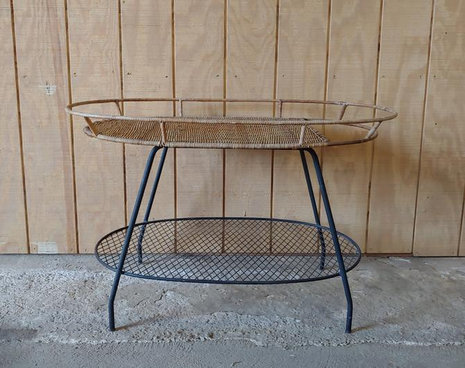 Rare Vintage Arthur Umanoff Style Rattan and Wrought Iron Bar Cart Accent Console Table by ModandOzzie