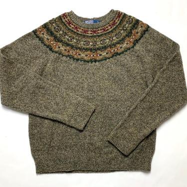 Vintage POLO RALPH LAUREN Wool Fair Isle Sweater ~ M ~ Hand Knit ~ Preppy / Ivy League / Trad by SparrowsAndWolves