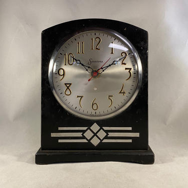 Art Deco Clock Sessions Chrome Black Vintage by accokeekpickers