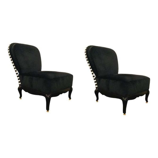 Caracole Signature Modern Black Velvet Yves Slipper Chairs - a Pair