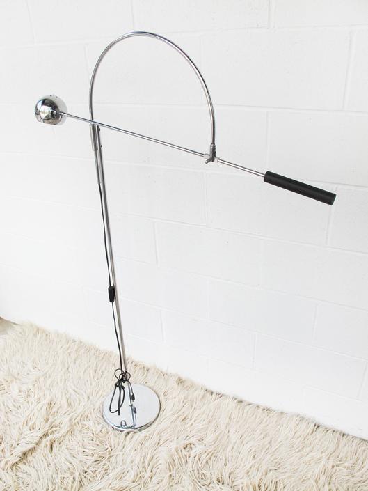 Robert Sonneman Style - Mid-Century Solid Chrome Swivel Oribiter Floor Lamp by PortlandRevibe