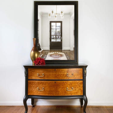 Small Dresser with Mirror | Small Chest of Drawers | Entryway Furniture | Entryway Storage with Mirror | Birds Eye Maple Chest with Mirror by AllThingsNewAgainVA