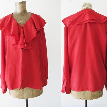 Vintage 90s Blouse S M - Red Silk Shirt - Silk Ruffle Top - Long Sleeve Ruffle Blouse - 90s Clothing - Pirate Shirt - Ruffle Collar Top by MILKTEETHS