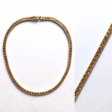 "Antique Art Deco Citrine Paste Rhinestone Line Choker Necklace 15"" 1930s by templeofvintage"