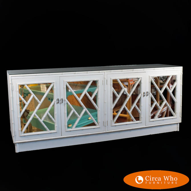 Mirrored Faux Bamboo Fretwork Dresser by Omega
