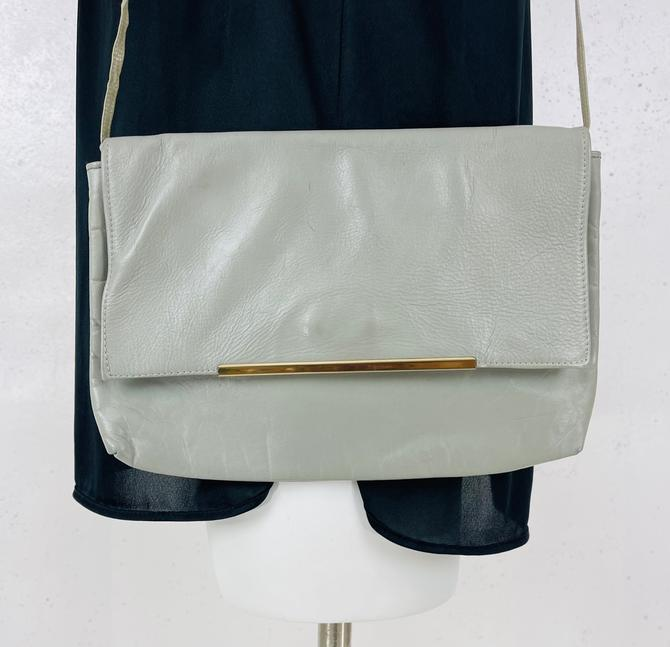 Vintage 1980's Light Grey Leather Convertible Clutch by timelesspieces