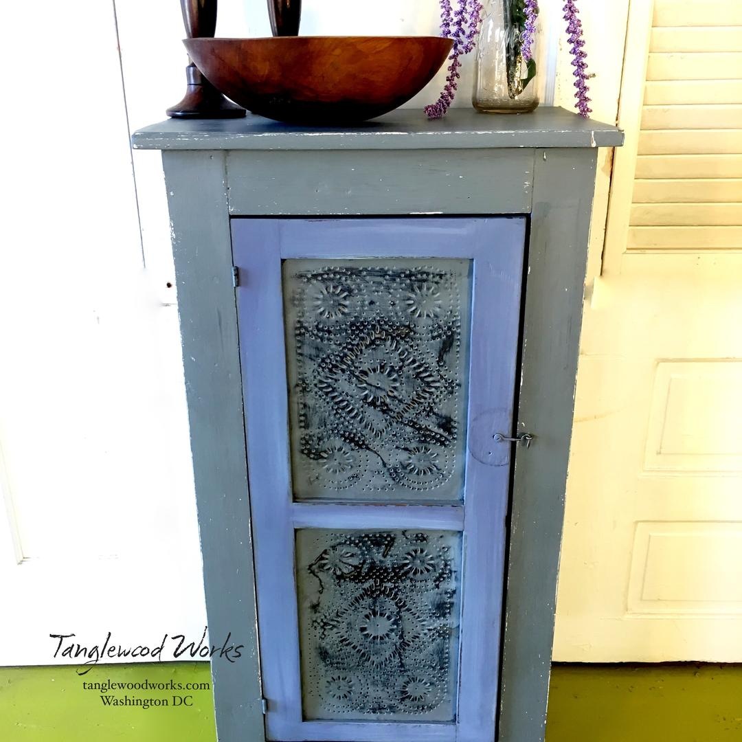 Primitive Pie Safe Cabinet Painted In Shades Of Lavender And Grey From Tanglewood Works Attic