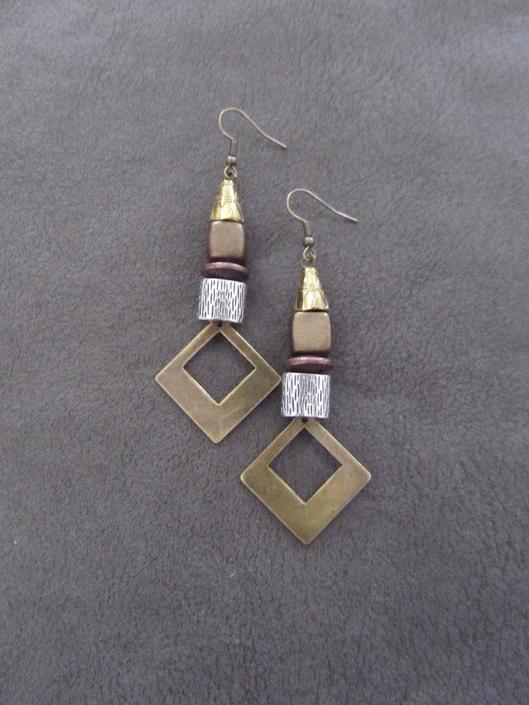 Bronze brutalist earrings, mid century modern earrings, mixed metal, rustic boho bohemian earrings, unique artisan earrings, silver brass by Afrocasian