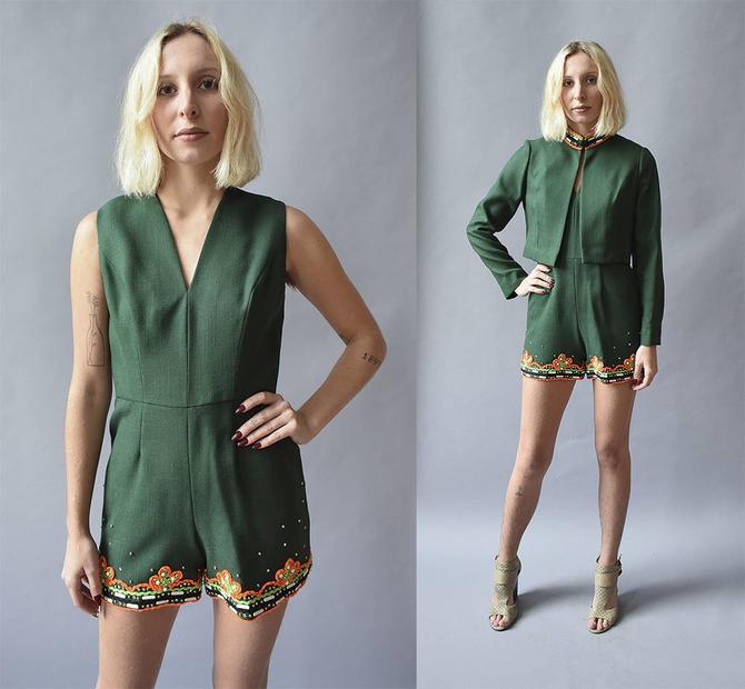 green eloise curtis romper vintage romper and matching jacket