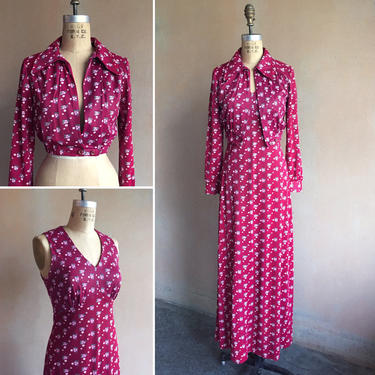 Vintage 70s Cranberry Red Floral Print Long Dress w/ Matching Jacket by LucileVintage