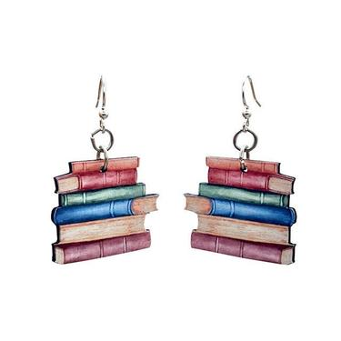 Stack of Books #T090 - Wood Earrings by GreenTreeJewelry