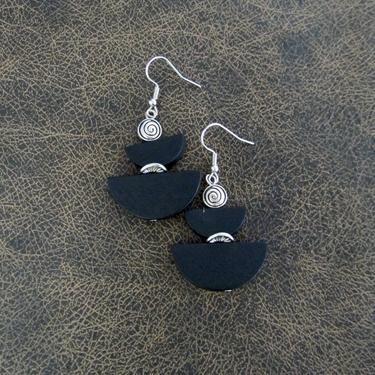 Black geometric earrings, wood earrings, mid century modern earrings, Art Deco earrings, bold statement, unique earrings, artisan earrings by Afrocasian