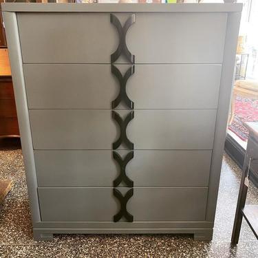 "Midcentury modern grey dresser, 40""L x 20""W x 49""T,"