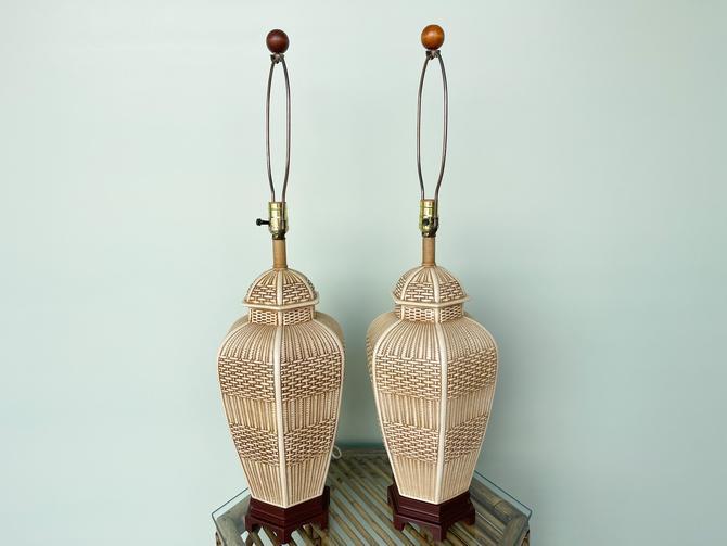 Pair of Faux Basket Ginger Jar Lamps